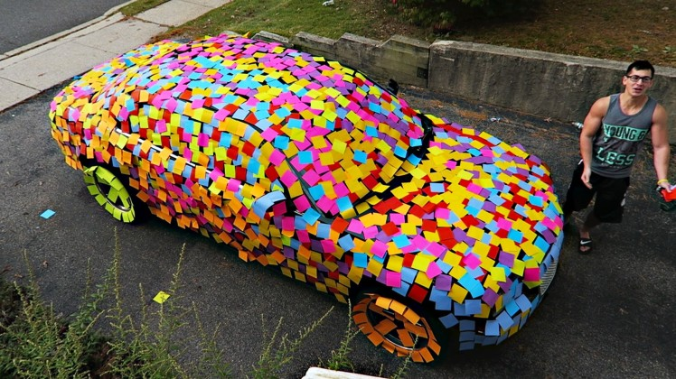 carcovered-in-stickynotes